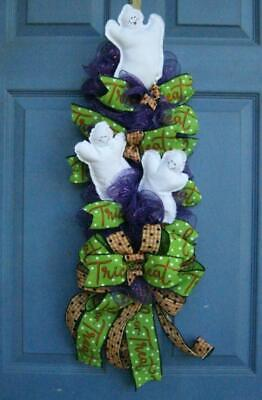 Ghosts Trick or Treat Purple Deco Mesh Halloween Swag Wreath Handmade Door Wall