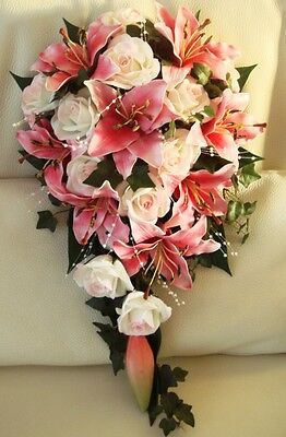 Wedding Bouquet Flowers, Real Touch Lily, Roses, Pearls