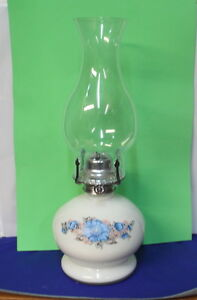 Lovely Milk Glass White with Blue Flowers Oil Lamp