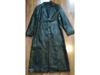 Ladies Long (50in) Black Leather Coat size 12