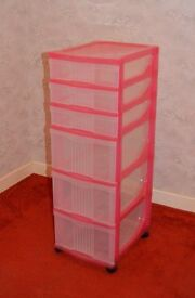 Plastic 6 drawer storage tower unit, pink