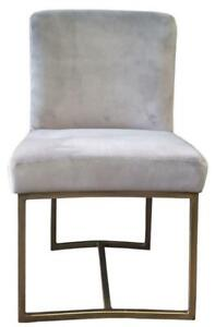 4 - Grey Velvet Low Back Dining Chair with Rustic Bronze Frame, Brand New