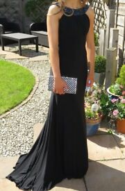 BLACK PROM/BALL FULL LENGTH DRESS - UK SIZE 8