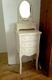 French Style Chabby Chic Dressing Table and Mirror