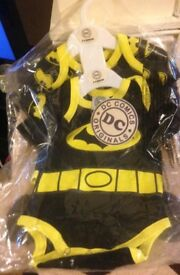 Brand New 2x Pack DC Original Comics Baby Grows, Size 6-9 Months