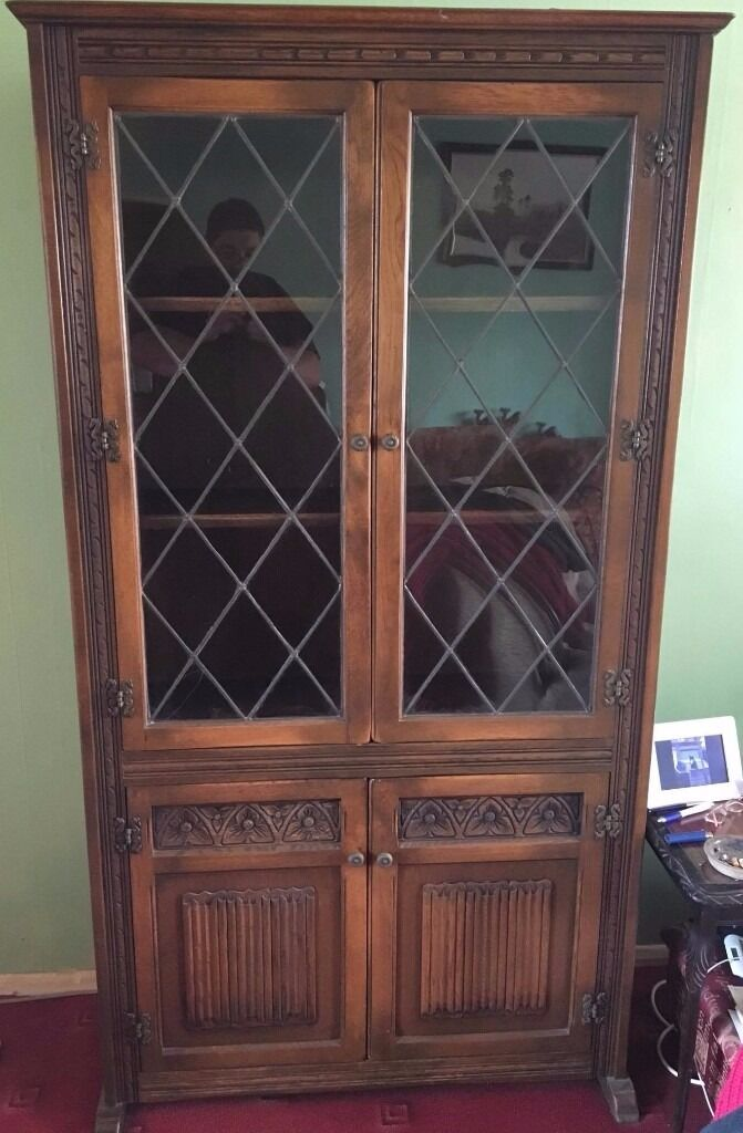 English Antique Oak Leaded Glass Bookcase Display