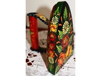 Hand Painted Flat Iron depicting Traditional Narrow Boat Art (Bargeware)