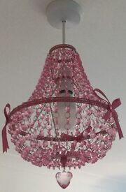 2x girls pink chandeliers, in good condition!!