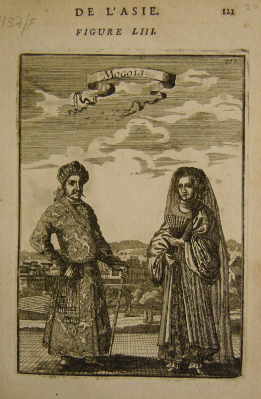 1683 Genuine Antique print of two Moguls. A M Mallet