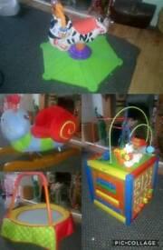 Baby toddler toys - rocker, trampoline, jumping zebra, wooden