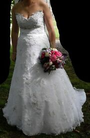 Wedding Dress - White Galaxy New York Rachel Princess Style Swarovski Size 12/42, Veil, Hoop etc