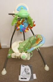 Fisher price rainforest swing and cradle Open-top cradle swing with rainforest theme