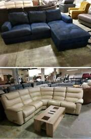 Cream lazboy leather corner sofa recliner