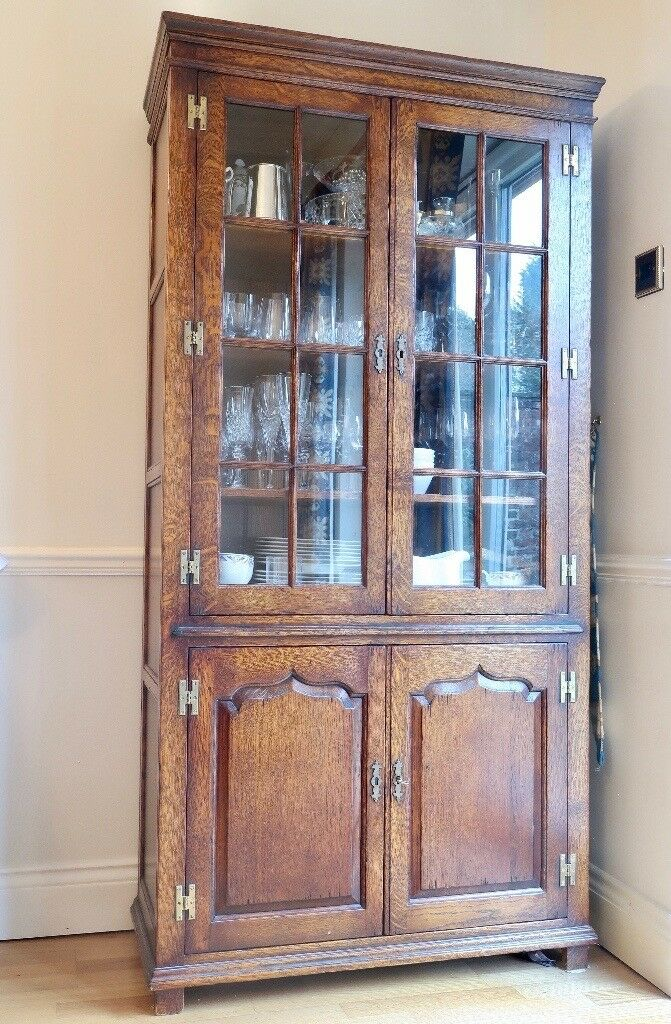 Solid Oak Handmade Dining Room Display Cabinet