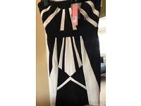Lipsy size 10 black and white dress