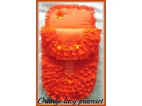 OLS,New Handmade Babys 2 Piece Lacy Pramset Pram set Quilt Blanket
