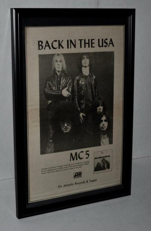 MC5 RARE 1970 BACK IN THE USA FIRST PUNK ROCK BAND FRAMED PROMO POSTER / AD