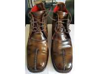 MANS JEFFREY & WEST POLISHED TWO-TONE BROWN LEATHER BOOTS (CROAKER) - SIZE 7 (UK) - £23 OVNO!