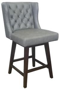 Grey or Black Wingback Swivel Kitchen Counter Stool w/Brushed Silver Nailhead