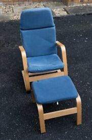Childs Chair & Foot Stool - Blue