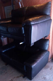 BLACK LEATHER 2 X 2 SEATER SOFAS ULTIMATE COMFORT GOOD CONDITION VIEWING WELCOME