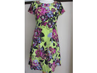 Used Phase Eight silk beaded Floral Summer holiday sun tea dress Size UK 10