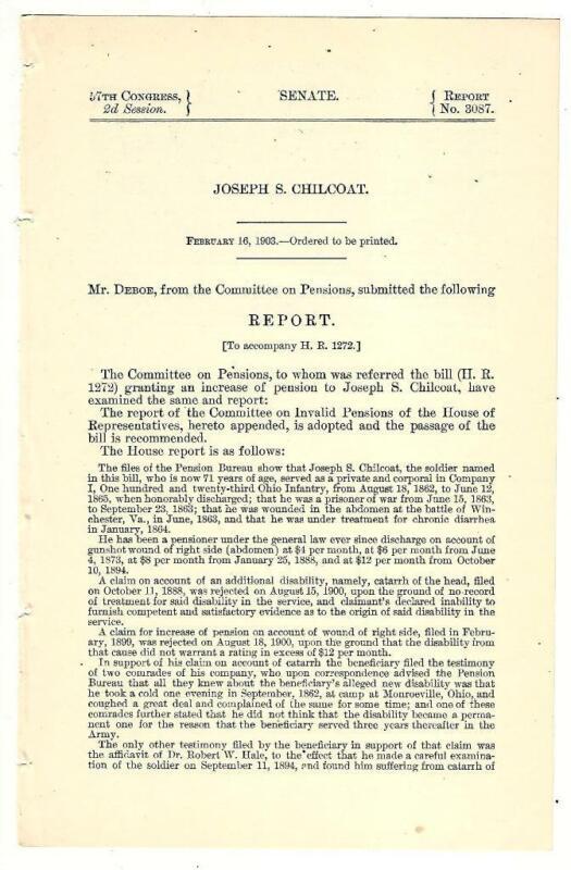 Cmte. Pensions Re: Joseph S. Chilcoat Disability Pension Increase Request