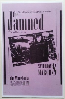 Rare THE DAMNED concert poster print 1986 Rochester NY PUNK Goth ELOISE tour