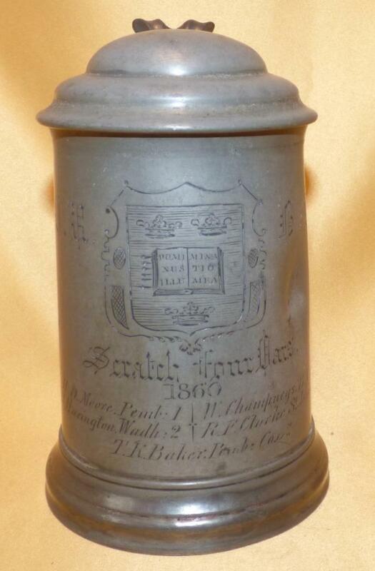 OXFORD UNIVERSITY ROWING TROPHY 1 PINT PEWTER TANKARD SCRATCH FOUR OARS 1860