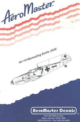 1:48 Marauding Emils JG26 Aircraft AeroMaster Model Decals Sheet NOS 48-110