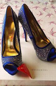 Cobalt Blue Size 7 Teatro Peep Toe Platform Diamante 6inch Heels Stunning! Sexy! Glam! (New)