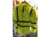 Yellow Hi-Vis coat with fleece lining