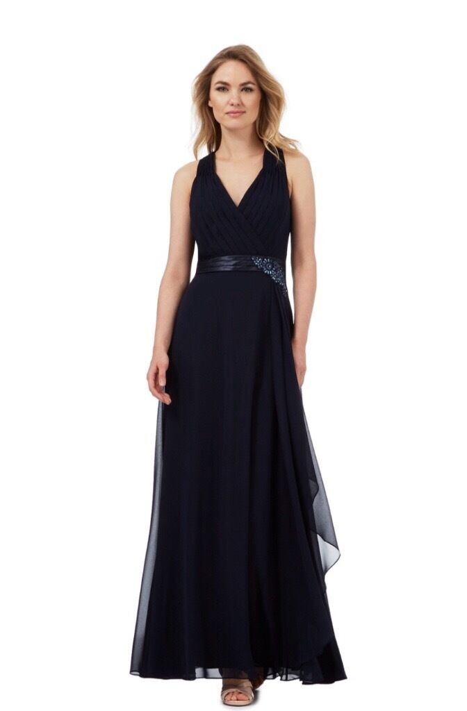 Jenny Packham navy blue evening dressesin Huntingdon, CambridgeshireGumtree - Jenny Packham navy blue evening dresses One size 10 and one size 16. Features an elegant wrap over bodice in ruched chiffon with crossover back straps. The full length skirt is designed in a flowing waterfall style and finished with a satin waistband...