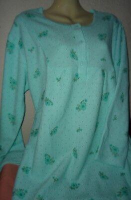 Damen Frottee Nachthemd inn. warm angerauht sehr warm MINT Blüte M-XXXL 40-54  ()