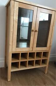 Drinks Cabinet - solid rubberwood with granite inlay. Excellent condition