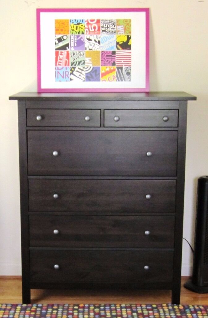 IKEA HEMNES CHEST OF 6 DRAWERS Black Brown