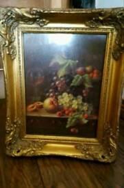 Stunning still life painting in ornate frame
