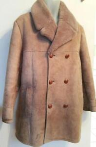 SHEARLING British 44 Mens Large Coat Jacket 100% Sheepskin Roomy Made in England Brown Rancher Western Warm Vintage Mint