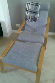 Ikea Poang Armchair and Footstool Grey