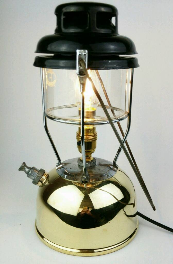 Wonderful GENUINE VINTAGE TILLEY LAMP/LANTERN CONVERTED TO ELECTRIC TABLE LAMP HOUSE  LIGHT