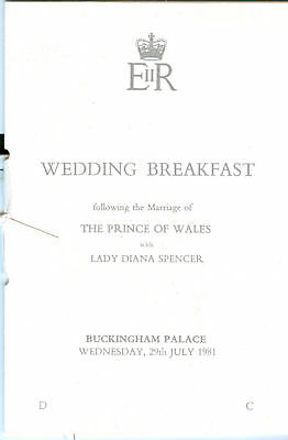 Princess Diana: ROYAL WEDDING BREAKFAST BOOKLET 1981