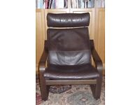 Ikea Poang chair, dark brown leather