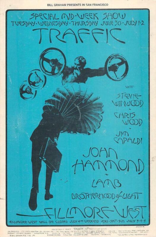TRAFFIC STEVE WINWOOD BILL GRAHAM #241 WEST FILMORE MUSIC POSTCARD 1967