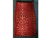 Pencil Skirt Red Print 8/10