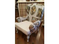 Unique shabby chic wing-back chair