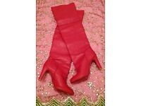 *New Bespoke Handmade Pair of Panelled Long Red Boots: Height: Thigh Length. Size 42: (7/8)