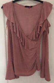 Women's Ladies Fashion V Neck Off Shoulder Long Sleeve Top Casual, UK 8