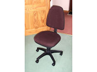 Office Chair - adjustable - dark brown fabric