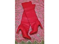 NEW RED BOOTS LONG Classic Cut Style High Heel Panelled Bespoke Handmade Size 42 (7/8) Over Knee Fit