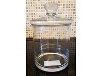 Glass jar with lid (Suitable to hold biscuits, cotton wool etc) from Matalan